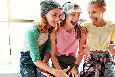 Buy stock photo Shot of young girls in a dancing studio