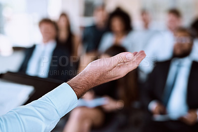 Buy stock photo Shot of businesspeople attending a conference