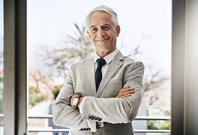 Buy stock photo Portrait of a confident mature businessman wearing a business suit while standing with his arms folded at home during the day