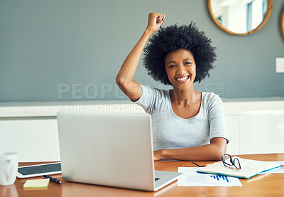 Buy stock photo Cropped portrait of an attractive young businesswoman cheering while working at home