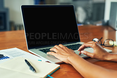 Buy stock photo Cropped shot of an unrecognizable businesswoman working at home