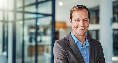 Buy stock photo Portrait of a happy young businessman working in a modern office