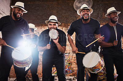 Buy stock photo Portrait of a group of musical performers playing together