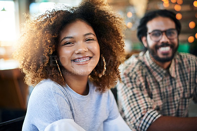 Buy stock photo Cropped portrait of two young designers working together in their office