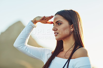 Buy stock photo Cropped shot of a beautiful young woman in nature