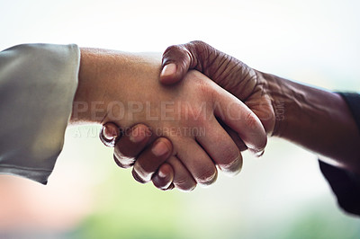 Buy stock photo Cropped shot of unrecognizable businesswomen shaking hands in the office