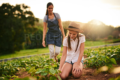 Buy stock photo Shot of a young girl working on the family farm with her mother in the background