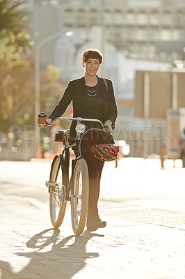 Buy stock photo Full length portrait of an attractive young businesswoman on her way to work