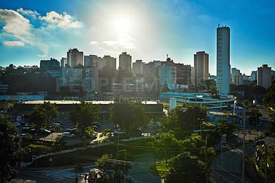 Buy stock photo Shot of a cityscape