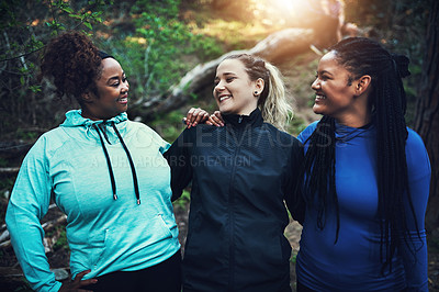 Buy stock photo Cropped shot of sporty young women working out in the forest