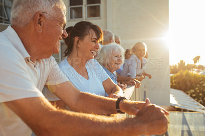 Buy stock photo Cropped shot of a group of seniors standing outside