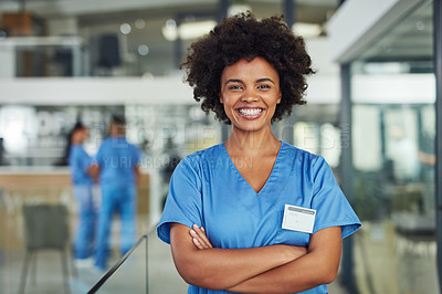 Buy stock photo Portrait of a nurse standing in a hospital