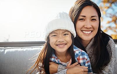 Buy stock photo Portrait of an adorable little girl enjoying an autumn day outdoors
