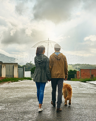 Buy stock photo Rearview shot of a couple walking with their dog
