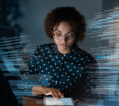 Buy stock photo Shot of a programmer using a digital tablet while working on a source code at night