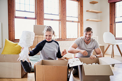 Buy stock photo Cropped shot of happy young couple on moving day their new home