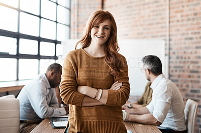 Buy stock photo Portrait of a confident businesswoman standing in the boardroom during a meeting