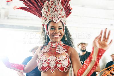 Buy stock photo Shot of a beautiful samba dancer performing at a carnival