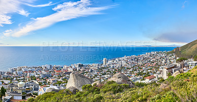Buy stock photo Aerial view of Sea Point, Cape Town, South Africa