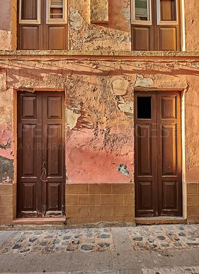 Buy stock photo Old colorful streets and houses of beautiful Santa Cruz, La Palma, Span