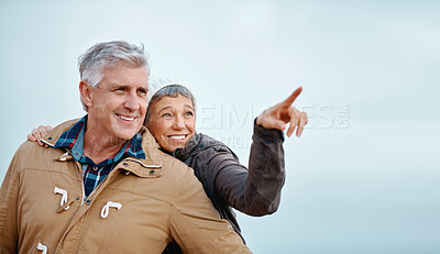Buy stock photo Low angle shot of an attractive senior woman pointing out something to her husband while standing outside