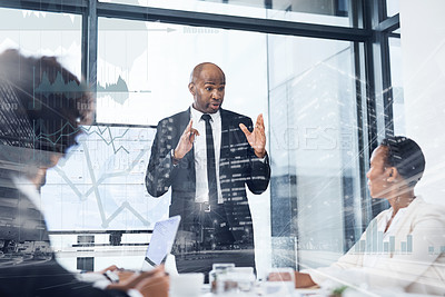 Buy stock photo Multiple exposure shot of a mature businessman delivering a presentation to his colleagues in the boardroom superimposed on a cityscape