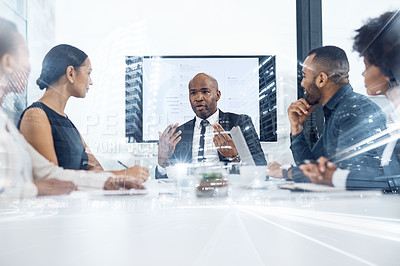 Buy stock photo Multiple exposure shot of a group of businesspeople having a meeting superimposed on a cityscape