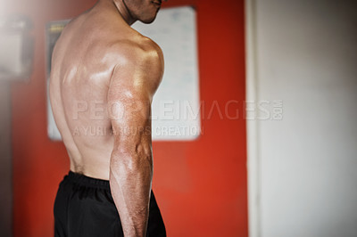 Buy stock photo Cropped shot of an unrecognizable muscular young man showing off his tricep in the gym