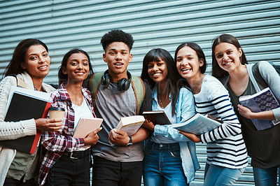 Buy stock photo Portrait of a group of university students at campus
