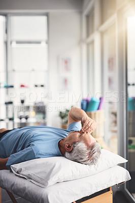 Buy stock photo Shot of a senior man feeling unwell