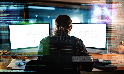Buy stock photo Rearview shot of an unrecognizable male programmer working late at night in the office