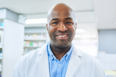 Buy stock photo Cropped shot of a happy male pharmacist