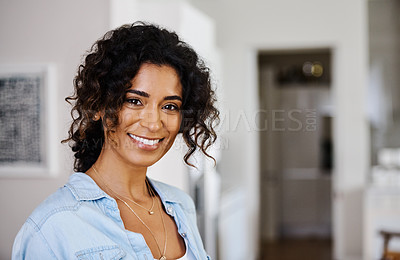 Buy stock photo Portrait of a beautiful young woman at home