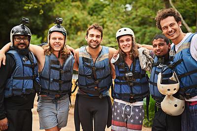 Buy stock photo Cropped portrait of a group of young friends out white water rafting