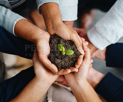 Buy stock photo Closeup shot of a group of businesspeople holding a plant growing out of soil
