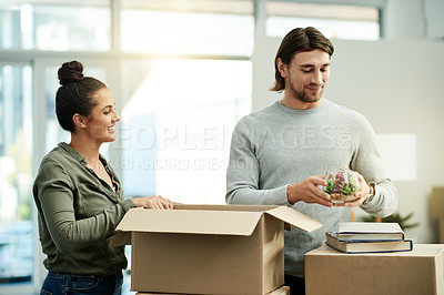 Buy stock photo Cropped shot of a young attractive couple on their moving day
