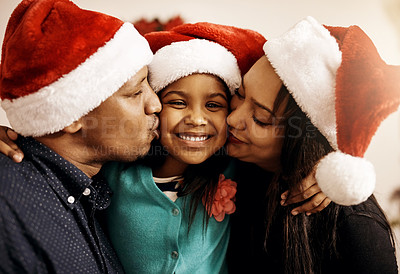 Buy stock photo Portrait of a family celebrating Christmas together at home