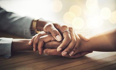 Buy stock photo Closeup shot of two women holding hands