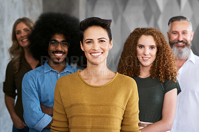 Buy stock photo Cropped portrait of a group of designers standing in their creative office