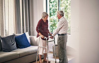 Buy stock photo Cropped shot of an affectionate senior couple in their retirement home