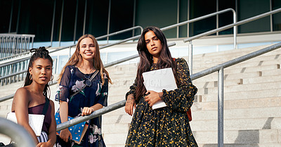 Buy stock photo Portrait of a group of young women standing together outside on campus