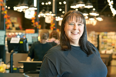 Buy stock photo Portrait of a mature woman working in a grocery store