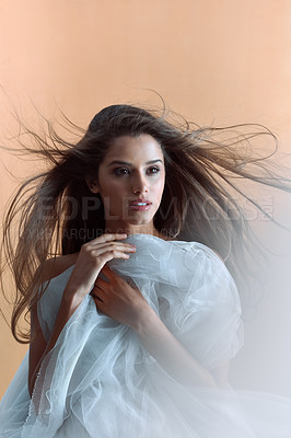 Buy stock photo Studio shot of an attractive young woman posing against a brown background