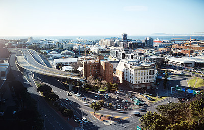Buy stock photo High angle shot of the CBD in Cape Town, South Africa