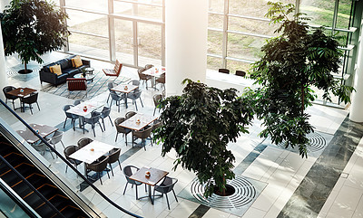 Buy stock photo High angle shot of a sitting area in a building