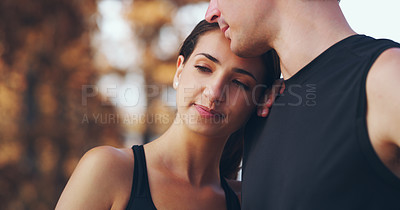 Buy stock photo Cropped shot of a loving couple out for a workout