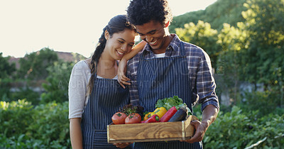 Buy stock photo Cropped shot of an affectionate young couple holding a crate of vegetable while standing on their farm