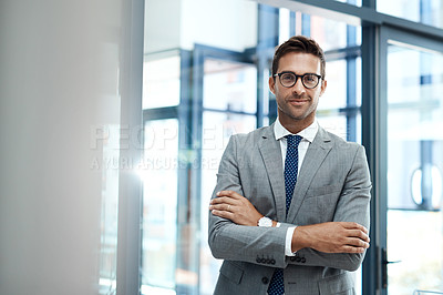 Buy stock photo Portrait of a well-dressed businessman standing in his office