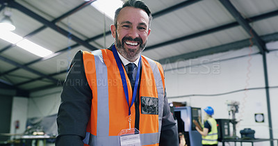 Buy stock photo Portrait of a confident mature engineer in an industrial place of work