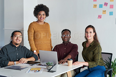 Buy stock photo Portrait of group of young businesspeople posing together at work